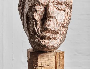 Annabelle Hyvrier, 'Francisco Mingorance' 2012, oak, iron, paper, ht: 74 cm