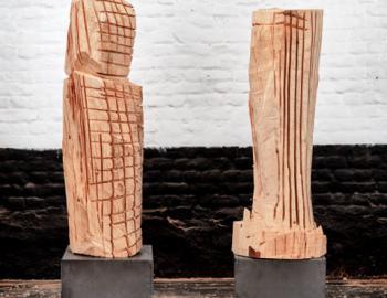 Annabelle Hyvrier 'Binome' 2015 cedar, iron Ht:140cm
