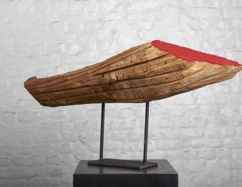 Annabelle Hyvrier 'Fantaisie 1' 2017, cedar, iron, mixed media, 2017, l:70cm, ht: 50cm., view: 3/4