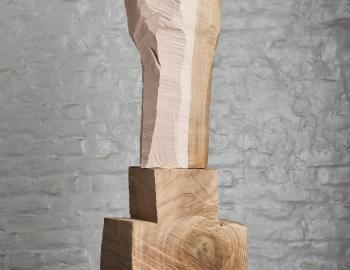 Annabelle Hyvrier 'Figura' 2017, cedar, chestnut tree, paint, ht. 75cm