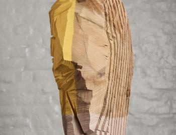Annabelle Hyvrier 'Madonna' cedar, paint, 75x 35x 24cm, 2017.